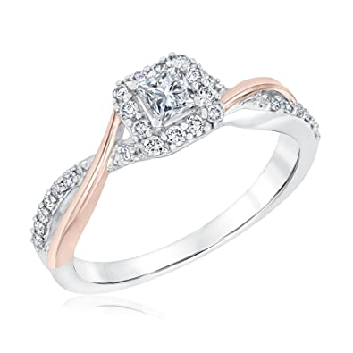 bd4354dd61d7b0 Ellaura Blush Two-Tone Princess Diamond Halo Engagement Ring 1 2ctw - Size  5.5