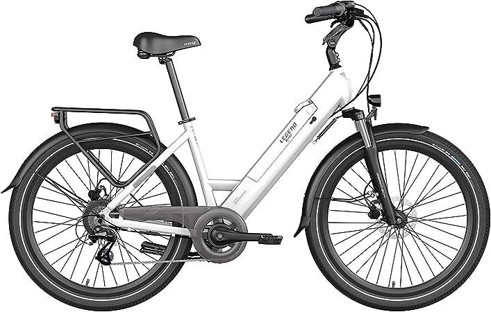 Legend Milano Bicicleta Eléctrica Urbana Smart eBike Ruedas de 26 Pulgadas, Frenos de Disco Hidráulicos, Batería 36V 10.4Ah Sanyo-Panasonic (374.4Wh), Blanco Artic: Amazon.es: Deportes y aire libre