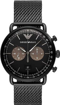Herren Chronograph Edelstahl Armband Emporio Quarz Mit Uhr Armani eEDY29WHI