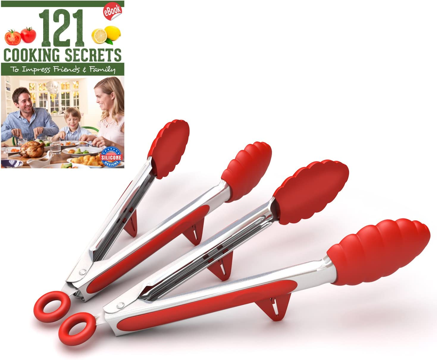 Kitchen Tongs with Built-in Stand, Set of 2, Red, 10.5 Inch, Stainless Steel and Silicone, Cooking Utensils, Free Recipe Ebook