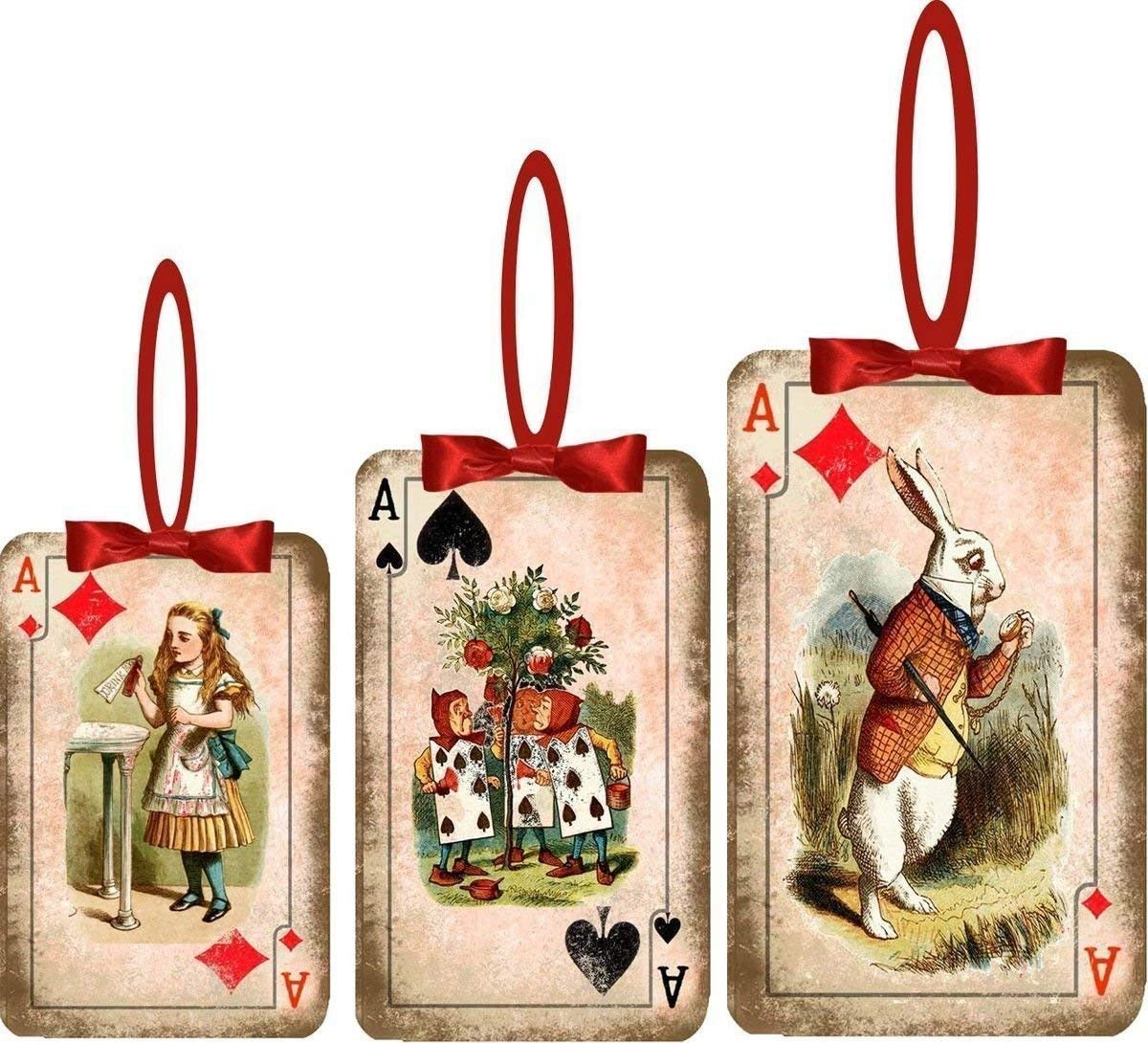Alice in Wonderland 8 Christmas ornaments 4 sizes with red satin ribbons
