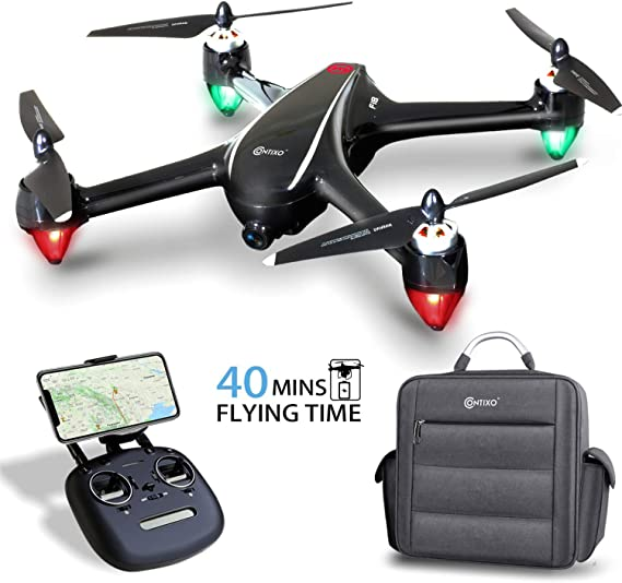 Contixo F18 Plus 2K FPV RC Drone with camera for adults - 40 Mins Longer Flight Time Quadcopter with Brushless Motor - beginners drone for kids - 5G WiFi - Follow Me - 2 Module Batteries with Backpack