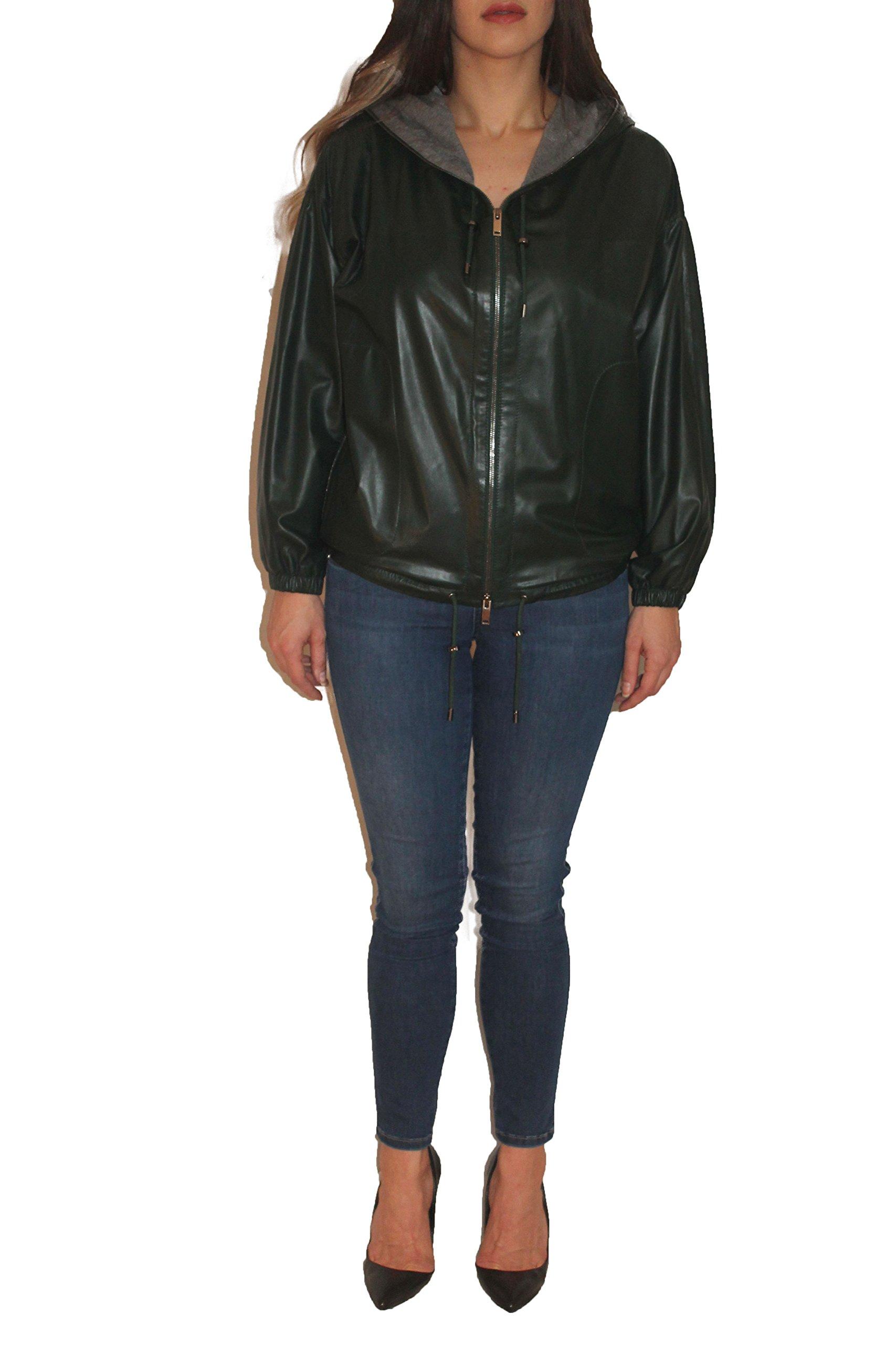 Mia, Genuine Sheep Leather Bomber Jacket (Green, Medium)