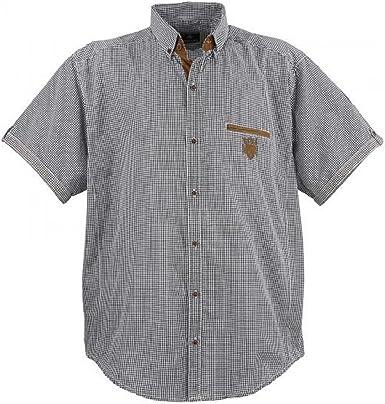 Camisa para hombre de Lavecchia modelo 1129 de talla grande, con cuadros en color blanco y negro, talla: 3-7 XL.