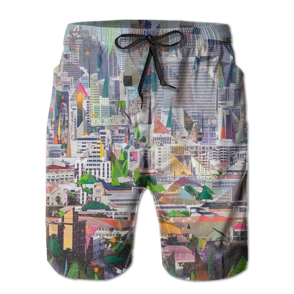 City Trippy Acid Collage Fit Mens Shorts Beach Swim Trunk Summer