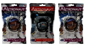 Astronaut Foods Freeze-Dried Ready To Eat Space Food Ice Cream 2 Flavor Variety Bundle: (1) Neapolitan Sandwich and (2) Vanilla Sandwich (3 Pouches)