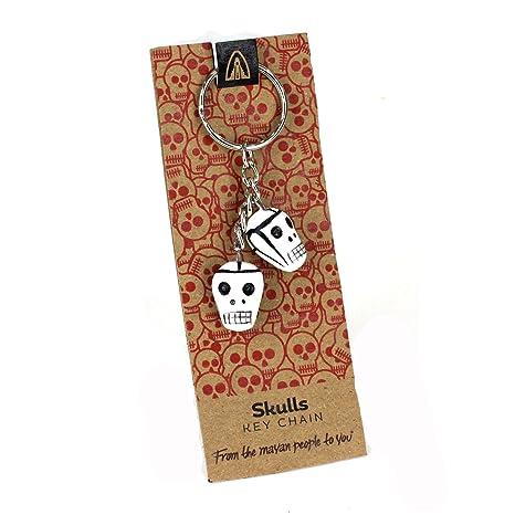 Llavero de calavera con diseño del Día de los Muertos, hecho a mano con cerámica
