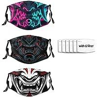 3 Pcs Samurai And Oni Oni Mask Japanese Face Mask Windproof Fashion Scarf Bandana Reusable For Men Women With 6 Filter