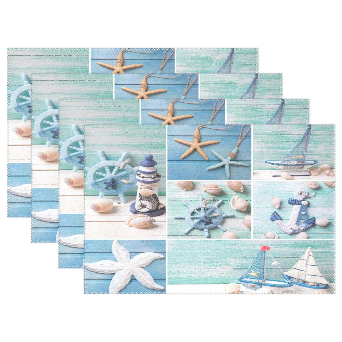 Wozo夏海テーマアンカーヒトデプレースマットテーブルマット、シェル出荷12
