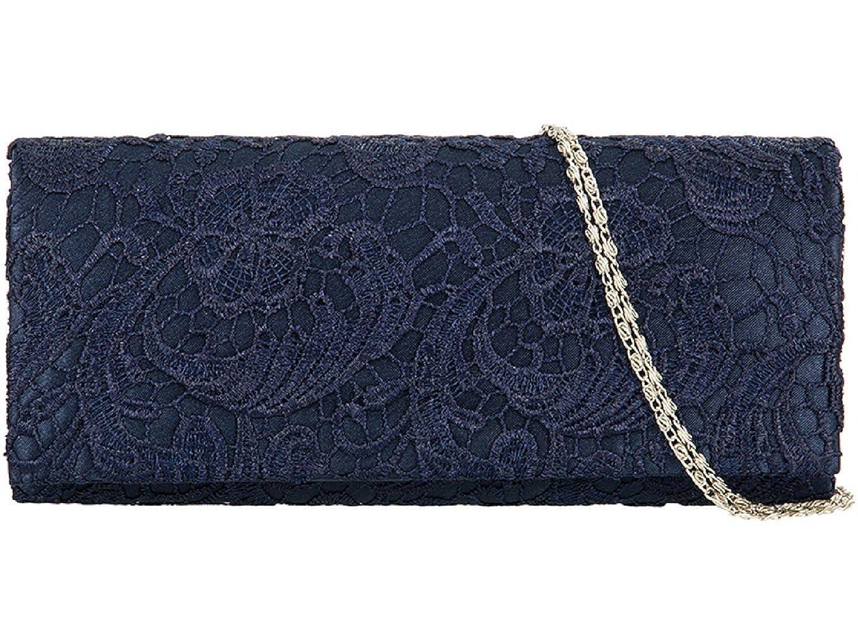 2271e0c0ca45 Accessorize-me Lace Overlay Evening Clutch Bag Handbag Wedding Races Prom  12 Colour s 09222 (Navy Blue)  Amazon.co.uk  Shoes   Bags