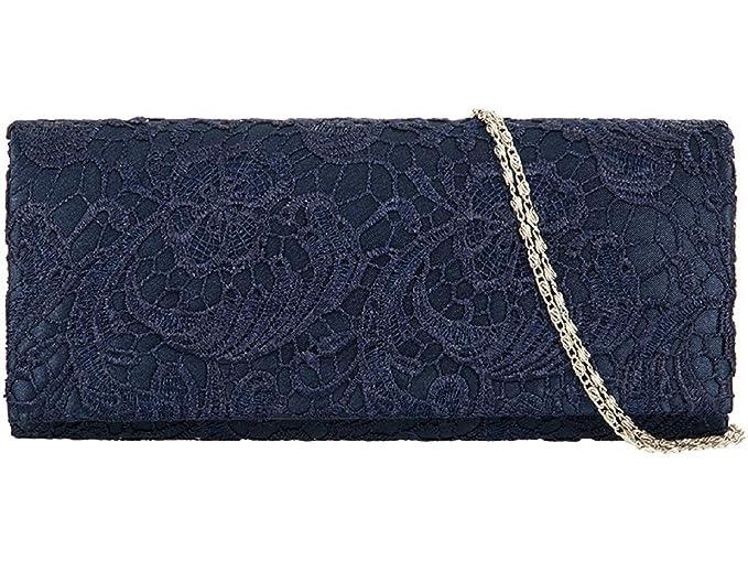 f692234b3a Accessorize-me Lace Overlay Evening Clutch Bag Handbag Wedding Races Prom  12 Colour s 09222 (Navy Blue)  Amazon.co.uk  Shoes   Bags