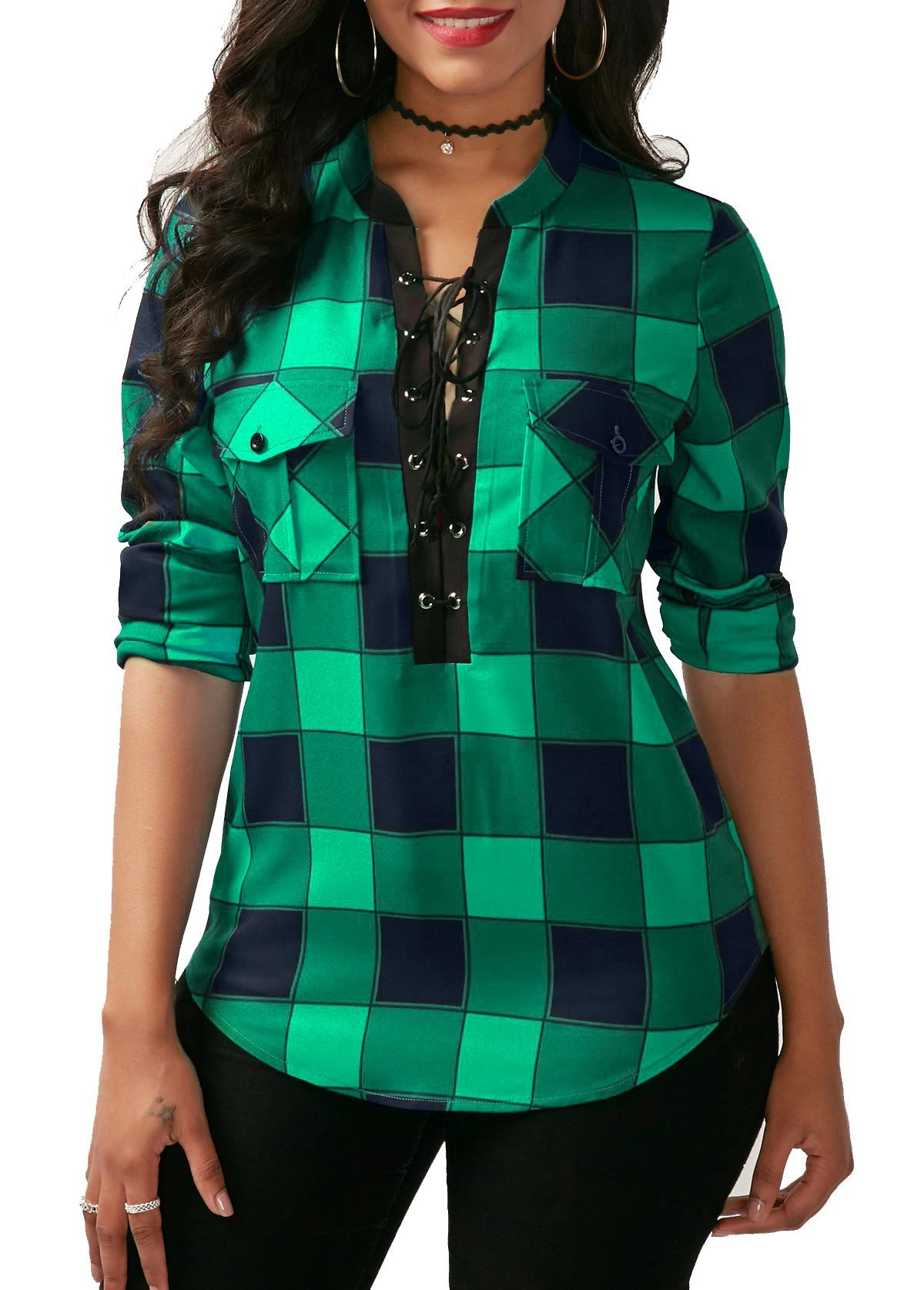 KISSMODA Womens Deep V Neck Slim Fit Pullover Roll up Sleeves Tops and Blouses Green Medium