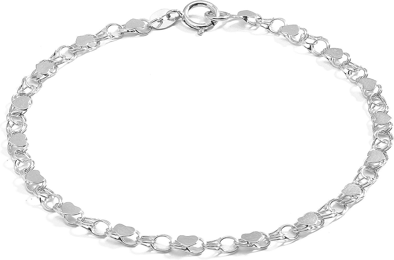 Floreo 10k Fine Gold 3.5mm Heart Bracelet and Anklet for Women and Girls