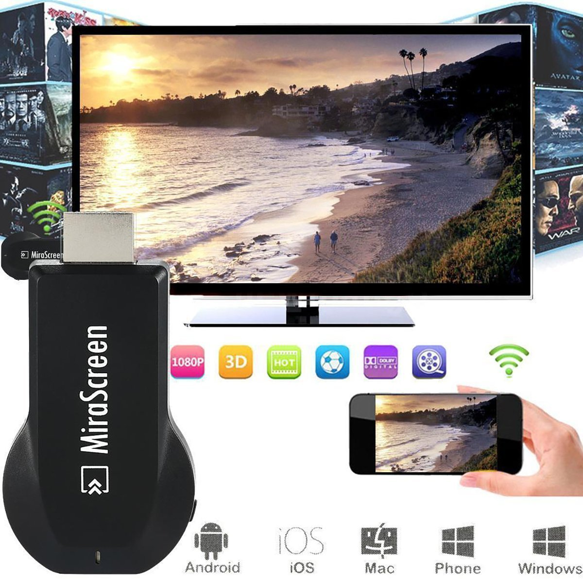 MiraScreen Wireless WiFi Display Dongle 1080P HDMI TV Stick Screen Mirroring Miracast DLNA Airplay CPU AM8252