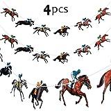 4 Piezas Banderas de Carreras de Caballos Flámula de Carrera de Caballos Bandera de Guirnalda de Caballo para…