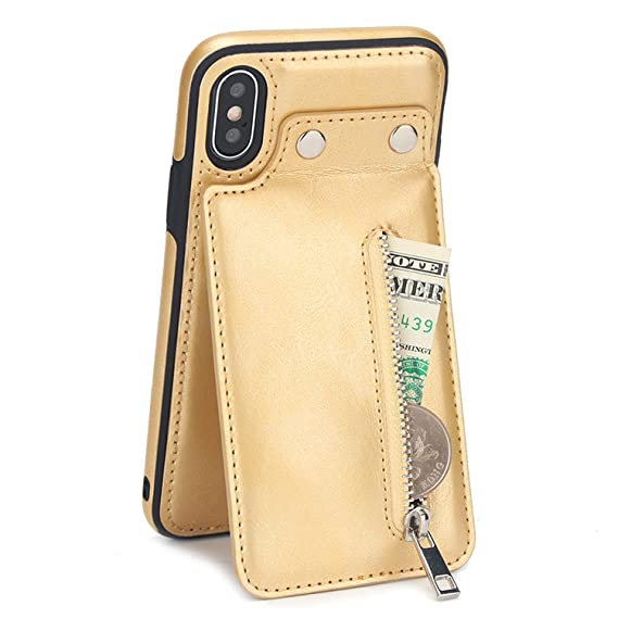 4a7504c22a9838 Amazon.com  Vintage Leather Case for iPhone 6 6s 7 8 Plus X XR Case Card  Zipper Wallet Stands Flip Cover for iPhone Xs Max 6 6s Phone Case