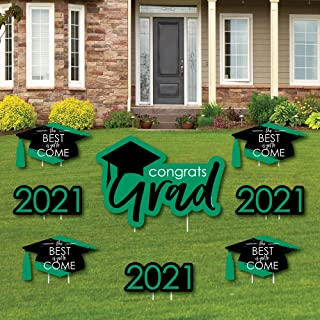 product image for Big Dot of Happiness Green Grad - Best is Yet to Come - Yard Sign and Outdoor Lawn Decorations - Green 2021 Graduation Party Yard Signs - Set of 8