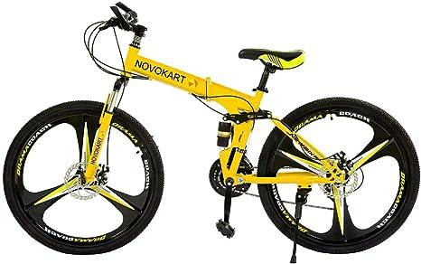 Novokart - Bicicleta Plegable Unisex para Adulto, Color Amarillo, 21 Stage Shift: Amazon.es: Deportes y aire libre