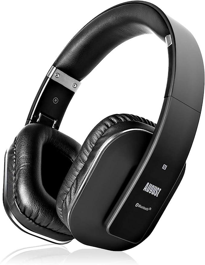August EP650–Auriculares Bluetooth Inalámbrico–Auriculares Diadema Casco Plegable-Sonido Estéreo Bass Rich-Auriculares Orejeras Cómodas con NFC y aptX,Color Negro: Amazon.es: Electrónica