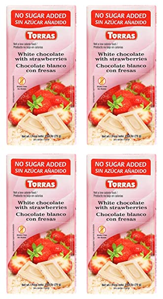 Torras Sugar Free and Gluten Free White Chocolate Bar - Strawberries (4 Pack)
