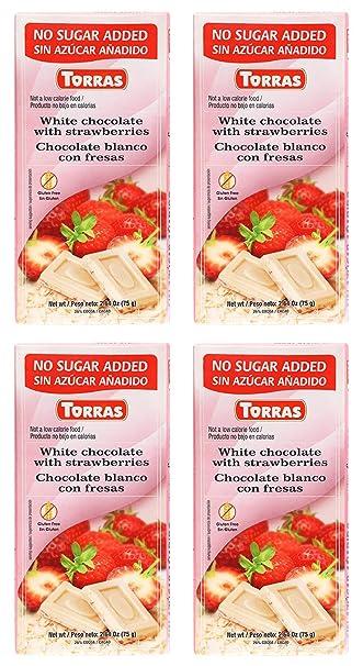 Torras Sugar Free and Gluten Free White Chocolate Bar - Strawberries (4 Pack)