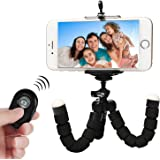 Q-Yuan iphone用三脚ホルダー iphone用三脚 アイフォン三脚 クネクネ三脚 Bluetooth自撮 リモコン付き (ブラック)