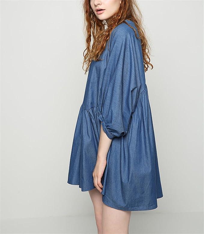 Amazon.com: SuperLouisa Fashion jean doce vestido irregular solta das mulheres vestido vestido de baile O-pescoço primavera fall season vestidos bonitos ...