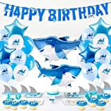 Shark Birthday Party Supplies, 40pcs Shark Theme Birthday Decorations - include Shark Balloons, Shark Birthday Banner, Shark