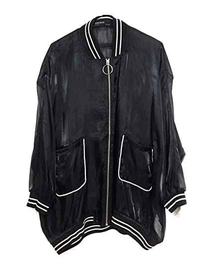 9f475d389 Zara Women's Organza-Effect Bomber Jacket 0787/220 Black: Amazon.co ...