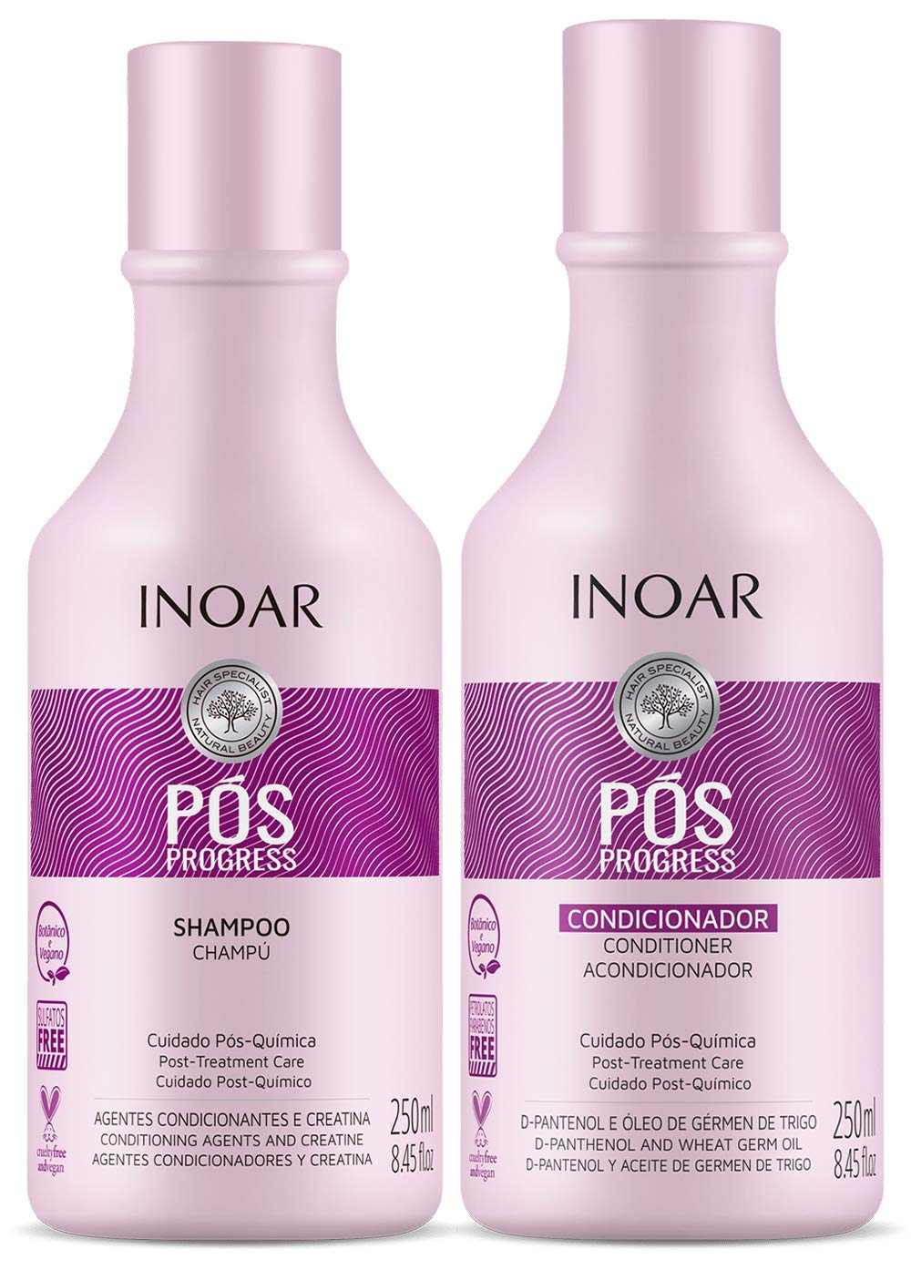 INOAR PROFESSIONAL - POS Progress Shampoo & Conditioner - 2 Step Kit Designed to be Used Between Keratin Treatments to Prolong Their Effectiveness ( 8.45 Ounces / 250 Milliliters )