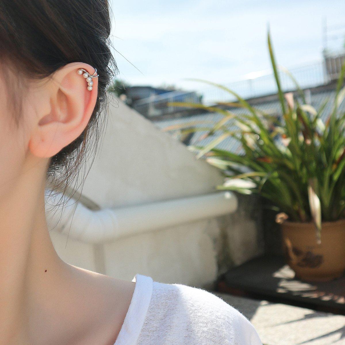 Aifeer Sterling Silver Non Pierced Ear Stud Earrings 5 Pearls Wrap Cuff Clip On Ear Clamp (A Pair) by Aifeer (Image #3)