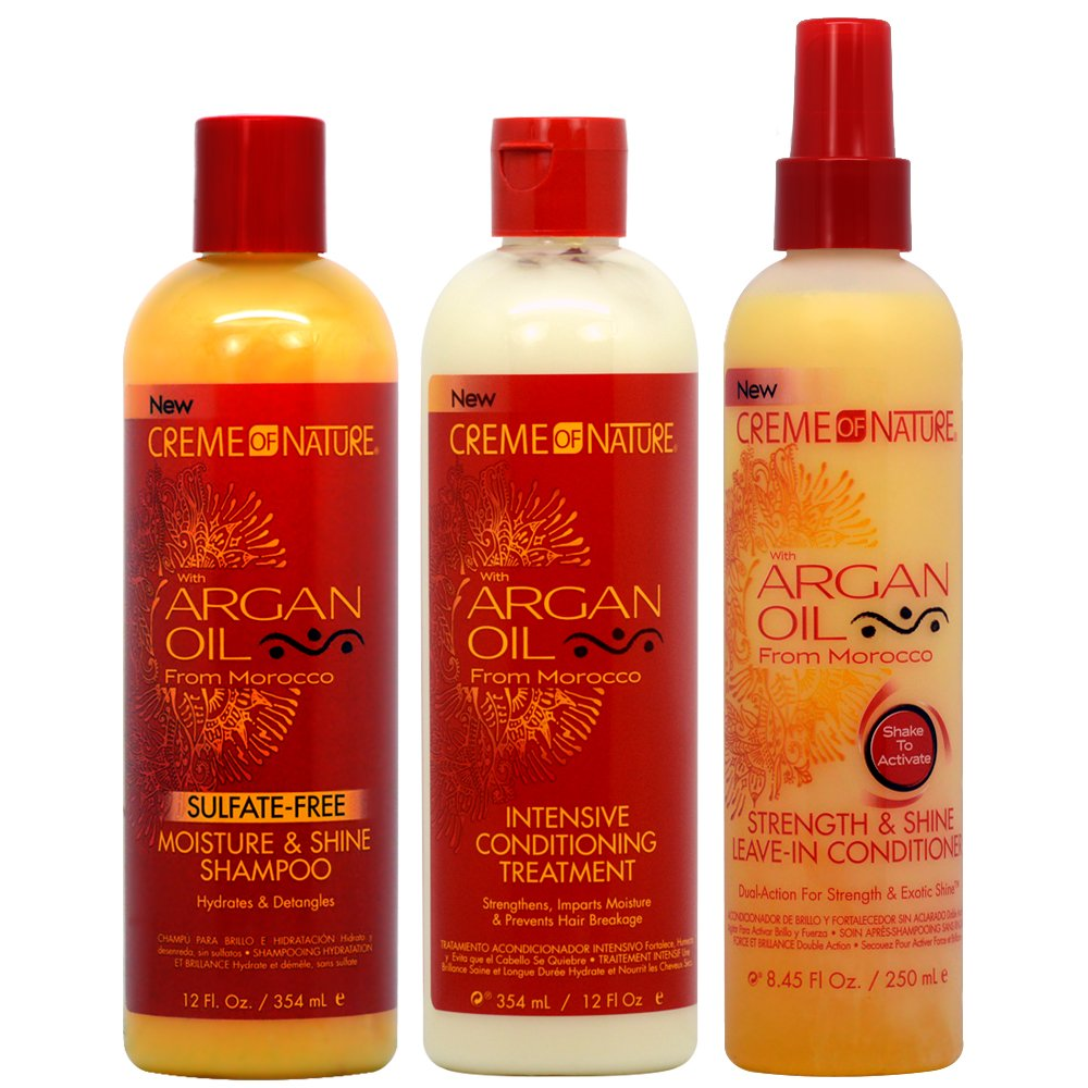 "Creme of Nature Argan Oil Shampoo + Intensive Treatment + Strength and Shine Leave-in Treamtment""Set"""