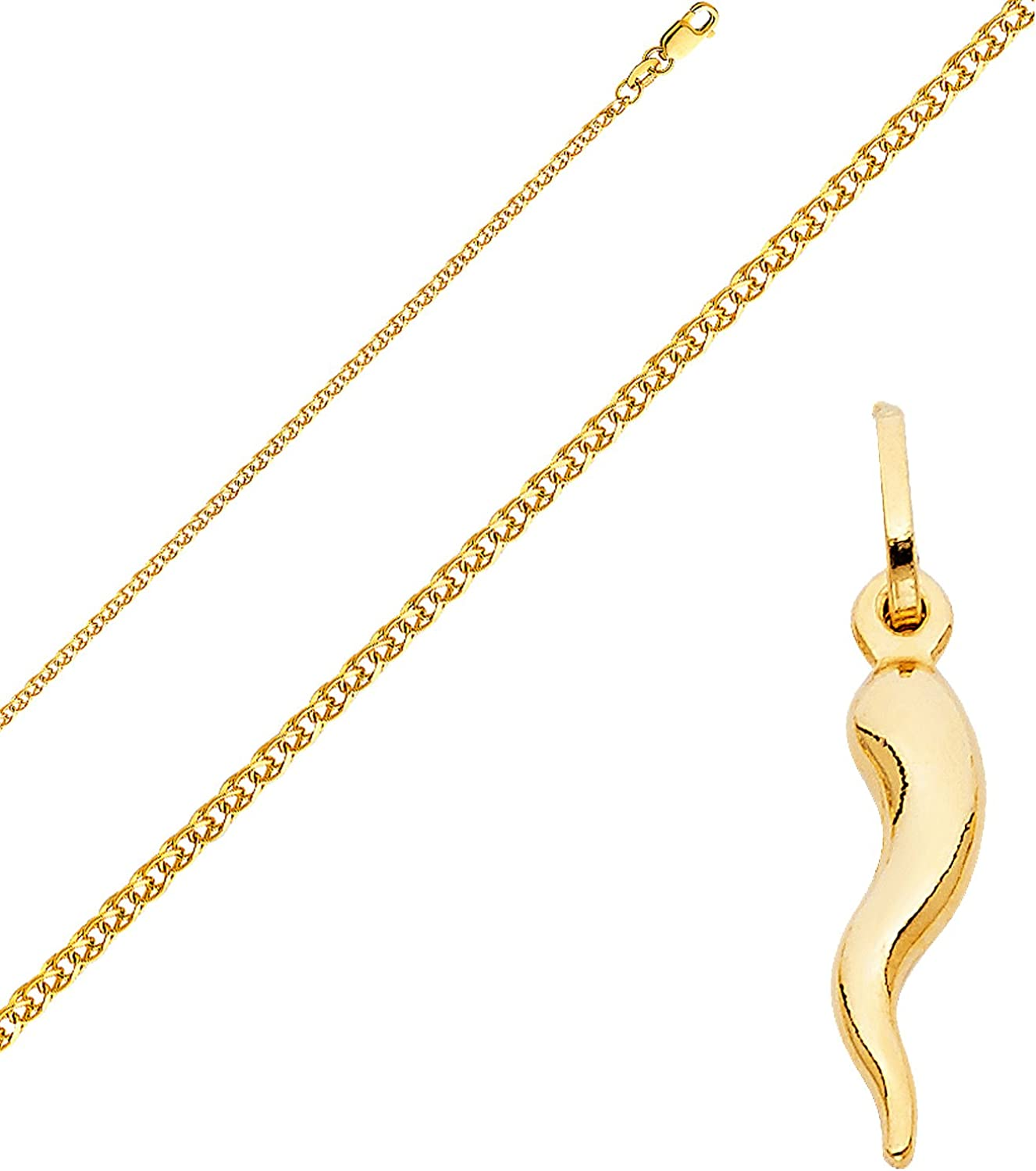 14K Two Tone Gold Praying Hands Pendant with 1.5mm Flat Open Wheat Chain Chain Necklace