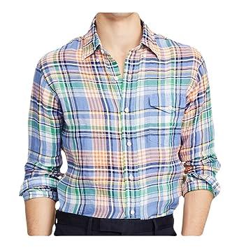 Shirt Ralph Plaid Long Lauren Men's Linen Classic Sleeve Polo Fit dxtsrhCQ