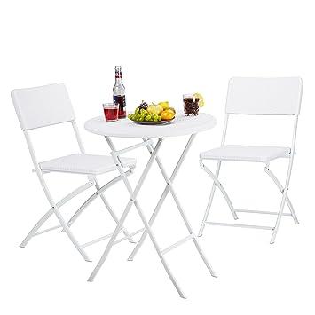 Relaxdays Meuble de jardin BASTIAN salon de jardin pliable table ...