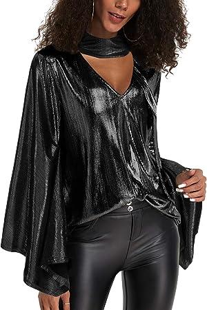 Blusas de manga larga con cuello en v para mujer YOINS, blusa de gargantilla metálica, ropa de fiest