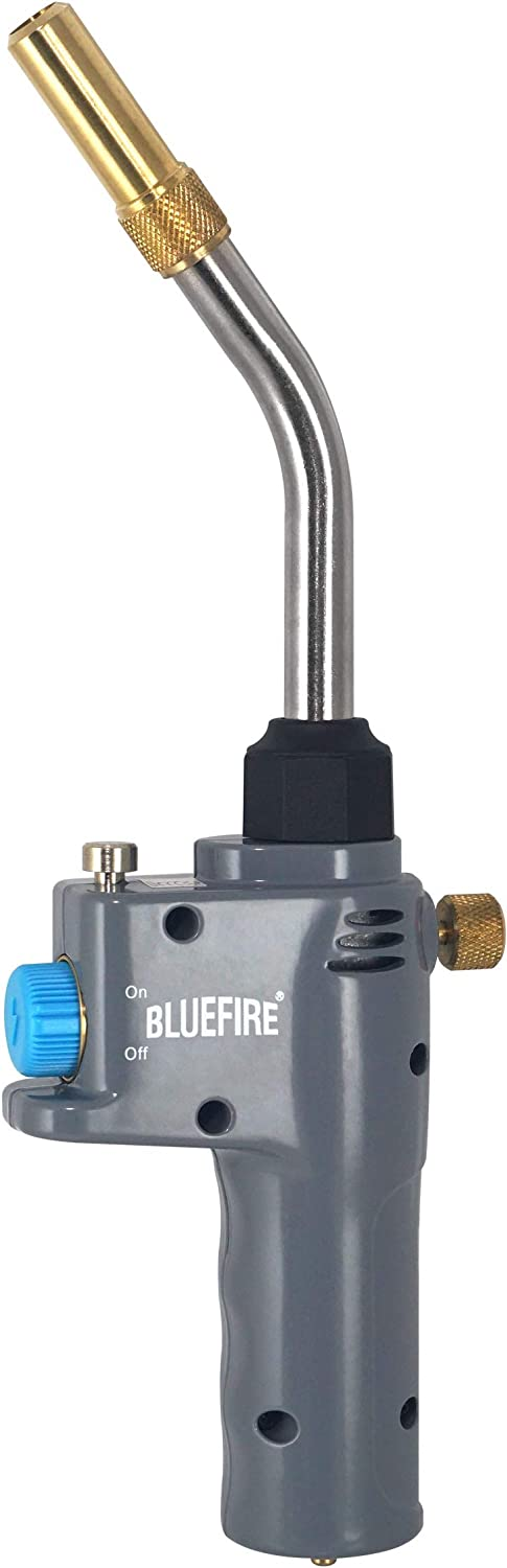 BLUEFIRE BTS-8088 Auto ON/OFF Trigger Start Heavy Duty Gas Welding Torch Head, Cast Aluminium, Adjustable Swirl Flame, Hand Hold Portable Nozzle, Fuel by MAPP/MAP Pro/Propane, CSA Certified (Torch)