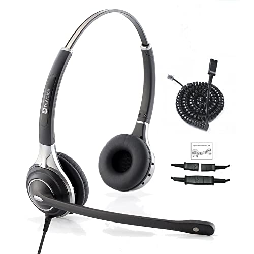 Premium Double Ear Ultra Noise Canceling Headset & HIS QD Adapter For Avaya IP 1608,
