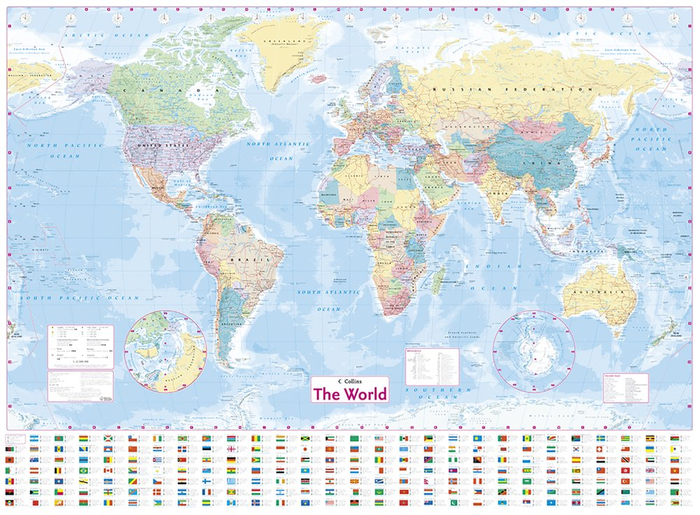 Collins world wall laminated map collins maps 9780008211561 collins world wall laminated map collins maps 9780008211561 books amazon gumiabroncs Gallery