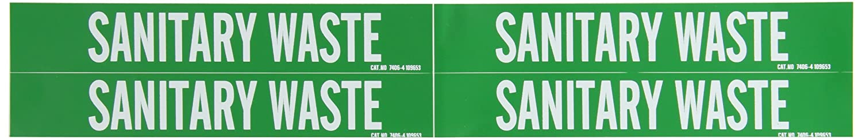 1 1//8 Height X 7 Width White On Green Pressure Sensitive Vinyl Brady 7406-4 Self-Sticking Vinyl Pipe Marker B-946 Legend Sanitary Waste 1 1//8 Height X 7 Width Legend Sanitary Waste