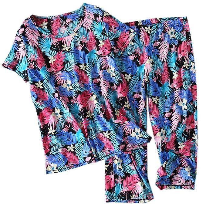 Ropa De Dormir Mujer Verano Moda Dos Piezas Gatos Cuello Redondo Manga Corta Especial Estilo Estampadas Elastische Taille Día Tops Pantalones De Pijama: ...