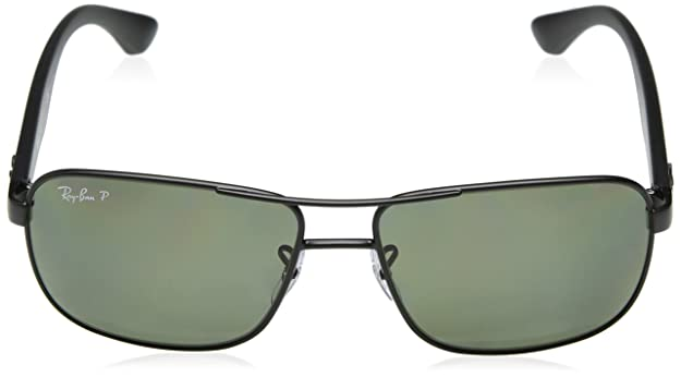 RAY-BAN Mens RB3516 Square Metal Sunglasses, Matte Black/Polarized Green, 59 mm