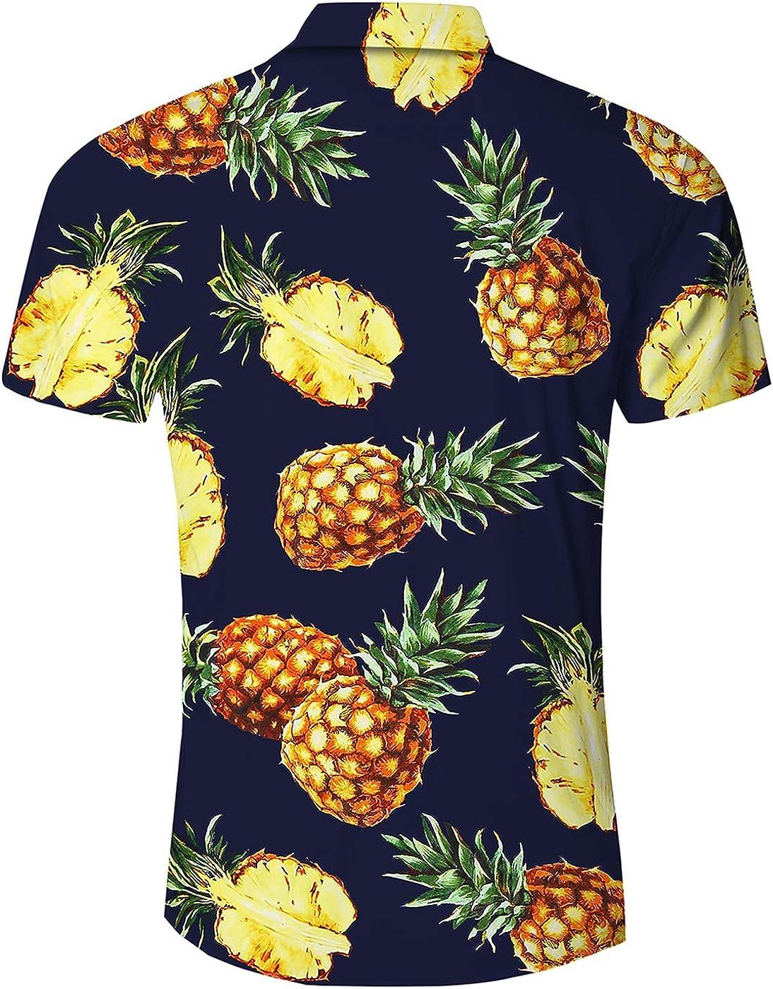 Loveternal Camicia Hawaiana Uomo Funky 3D Stampa Manica Corta Casual Shirt M-XXL