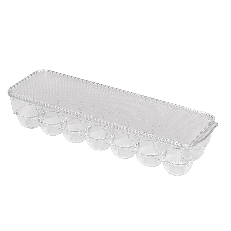 Smart Design Stackable Refrigerator Bin w/Handle - BPA Free Polyethylene - for Fridge, Freezer, Pantry Organization - Kitchen [Clear] (Egg Bin)