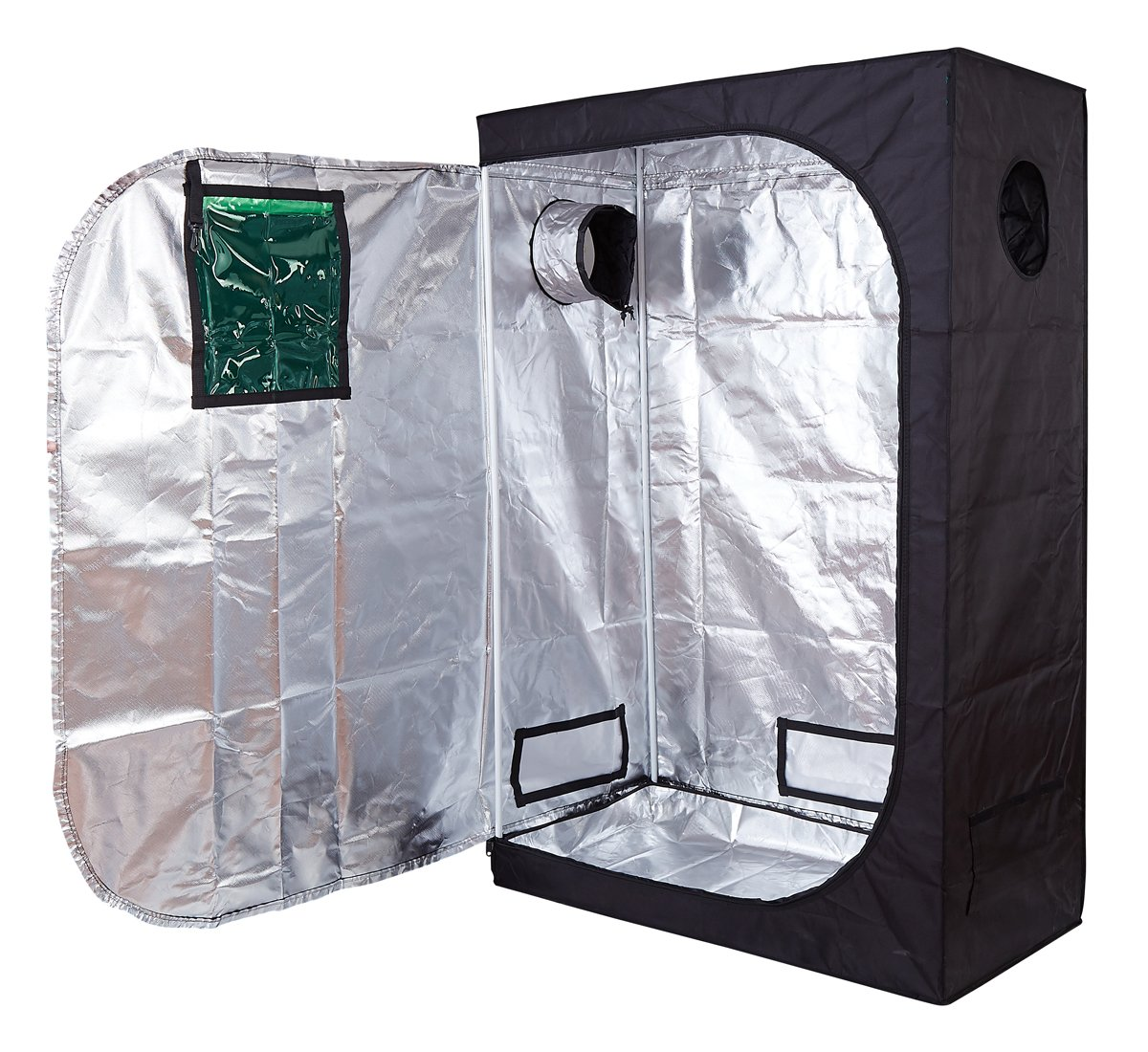 Hydro Plus 48''x24''x72'' Grow Tent Reflective Mylar Hydroponics Indoor Plant Growing Dark Room w/Observation Window (48''x24''x72'' -2)
