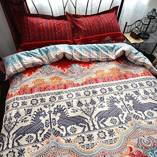 Dodou Queen Boho Style Bedding Set Boho Duvet Cover Set Bohemian Bedding Set 4pcs