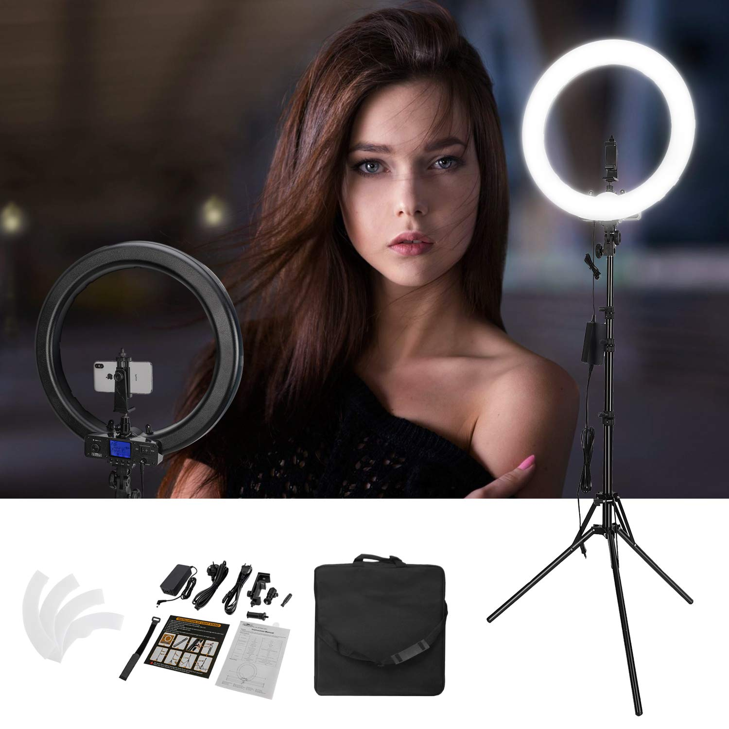 Upgraded Version 19inch Ring Light with LCD Display Adjustable Color Temperature 3000K-5800K with Stand, YouTube Makeup Dimmable Video LED Light Kit, for Video Shooting, Portrait, Vlog, Selfie