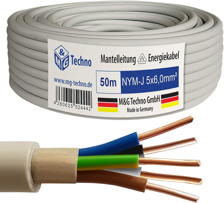 M/&G Techno 50m NYM-J 3x1,5 mm/² Mantelleitung Elektro Strom Kabel Kupfer eindr/ähtig Hergestellt in Deutschland