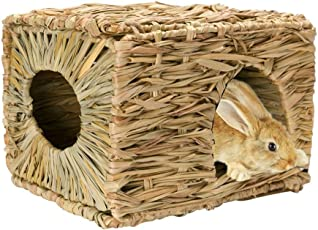 JanYoo Bunny Rabbit Chew Toys Hut Hideaway Bed Accessories Guinea Pig Grass Supplies