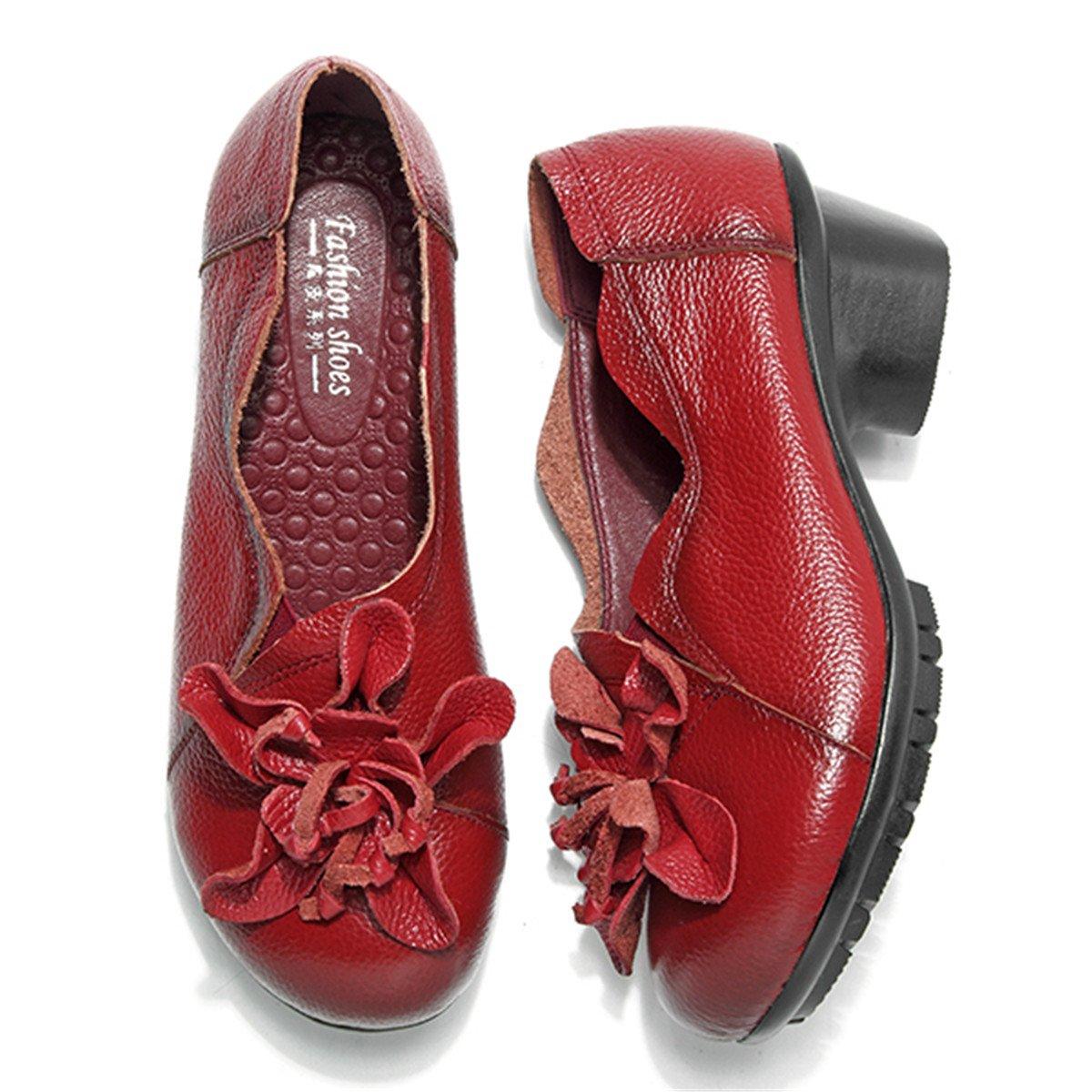 Socofy Mocasines Mujer Zapatos de Cuero Mujer Zapatos de Ballet Mocasines Zapatos Casuales Mujer Primavera Verano Casual Plano C/ómodo Cabeza Redonda de Cuero Zapatillas de Mocas/ín Zapatos de Barco